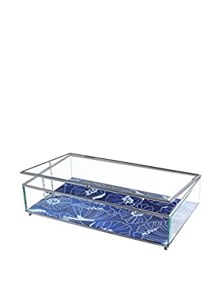American Atelier Large Poppies Glass Display Box, Blue