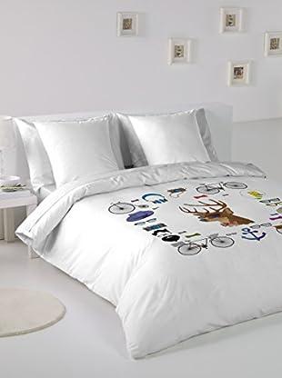 Hipster Bettdecke und Kissenbezug Iconos
