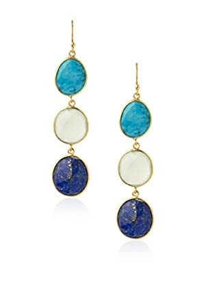 Saachi Blue & Green Triple Stone Drop Earrings
