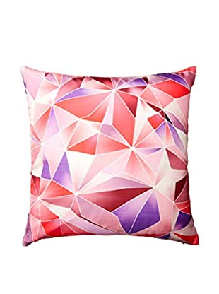 Nitin Goyal London Stained Glass Silk Throw Pillow, Berry
