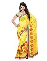 Diva Fashion-Surat Art silk embroidered yellow saree-DFS411D