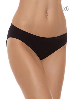 Pierre Cardin Pack 6 Braguitas Bikini (Negro)