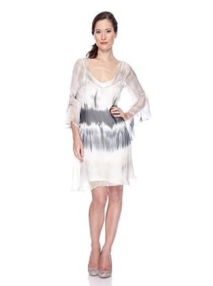 Ugli Sista Vestido De Seda Batik Bicolor (Negro / Gris / Crudo)