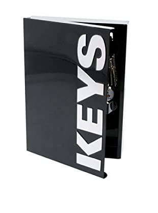 Present Time Typographic Metal Key Box, Black