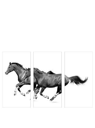 Art Addiction 3-Panel Running Horses II, Black/White, 36