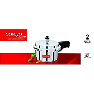 Surya Accent Outer-Lid Aluminium Pressure Cooker-2LTRS