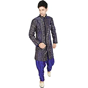 Utsav Fashion MTC461 Indowestern Suit - Violet & Grey