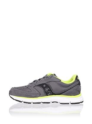 Saucony Kid's B Mod O Sneaker (Big Kid) (Grey/Black/Citron)