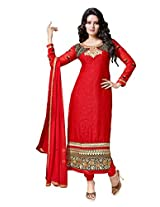 Livaaz Womens Faux Georgette Salwar Unstitched Dress Material (Sf100408 _Red)