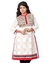 B3Fashion Party wear Chanderi Jacquard Kurti with elegent Floral weaves with Pashmina work front yoke