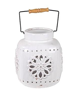 Privilege International Small White Ceramic Lantern