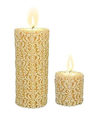 Volcanica Set of 2 White Paramount Pillar Candles