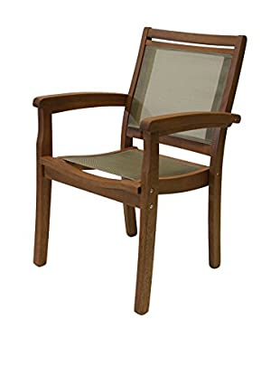 Outdoor Interiors Eucalyptus Stacking Sling Armchair, Brown
