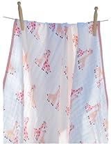 Angel Dear Muslin Nap Blanket, Pink Giraffe
