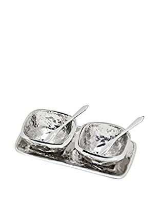 Godinger Lava Open Salt & Pepper Set /Tray