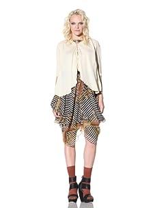 Gary Graham Women's Draped Solid Silk Blouse (Natural)