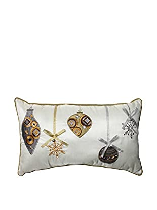 Pillow Perfect Holiday Ornaments Lumbar Pillow, Gold/Silver