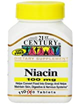 21st Century Niacin Tablets, 100 Mg, 110 Count