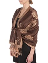 FUPashRose06AG Lightweight Two Tone Rose Floral Design Pashmina Fringe Scarf / Stole / Wrap - Brown / Beige