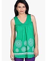 Green Printed Top Tantra