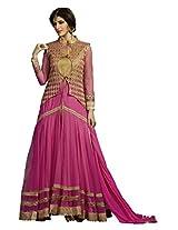 Viva N Diva Pink Color Color Net Suit.