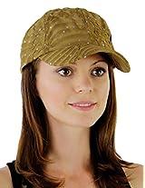 Glitzy Game Flower Sequin Trim Baseball Cap for Ladies (Beige)