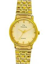 Maxima Gold Analog Gold Dial Men's Watch - 01107CMGY