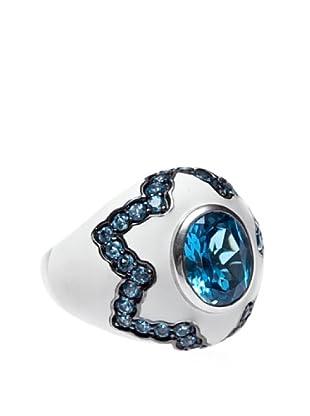 Yanes Anillo Moonshadow Esmalte Blanco Topacio Azul