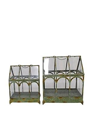Three Hands Set of 2 Green Metal Terrariums