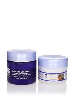 Dead Sea Spa Care Pomegranate Salt Scrub and Serenity Shea Body Butter, 2 Pack