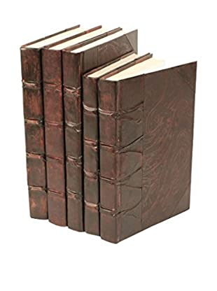 Set of 5 Antique Parchment Books, Brown