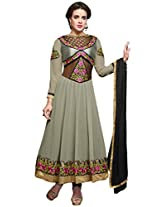Inddus Women Grey Colored Georgette Ready To Stitched Dress Material