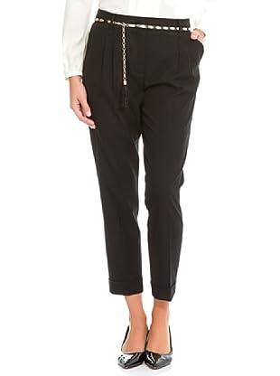 Cortefiel Pantalón Pinzas Con Cinturón (Negro)