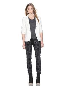 Marni X Current/Elliot Women's The Pearl-Printed Skinny Jean (Night/Pearl Print)