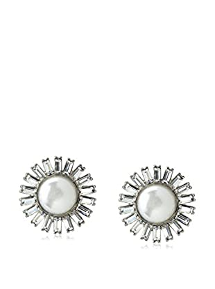 Kenneth Jay Lane Sparkling White Faux Pearl Sunburst Earrings