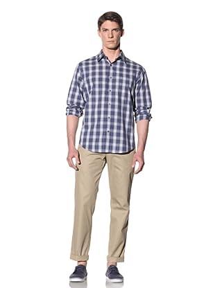 Perry Ellis Men's Ombre Plaid Sateen Shirt (Ink)