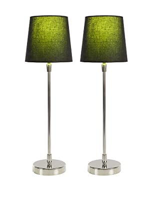 Filament Set of 2 Slim Round Table Lamps with Contrast Shade, Black/Green