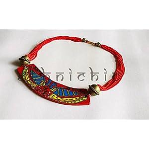 EthniChic Madhubani Peacock Hand painted Necklace