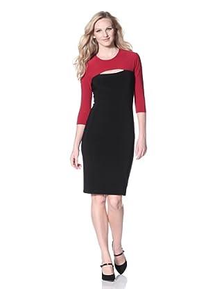 KAMALIKULTURE Women's Colorblock Dress (Black/Red Combo)