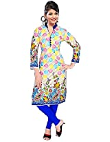 Summer Wear Combo Multicolored Soft Cotton Kurti And Blue/Purple Leggings