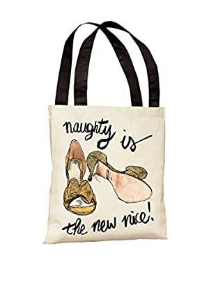 Oliver Gal Naughty Is The New Nice Shoes Tote Bag, Ivory/Gold