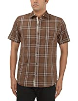 King Richard Men's Casual Shirt (AYK25_42, Brown, 42)