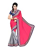 Zoom Beautiful Magenta Chiffon with Heavy Embroidered work Saree