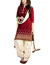 Clickedia Beautiful Cotton Embroidered Maroon & Off white churidaar Salwaar Suit
