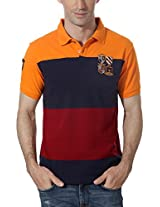 Peter England Patterned Cotton Blend Polo Tee