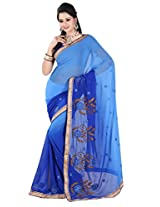 Khushali Multicolored Blue Georgette Saree With Unstitched Blouse Piece