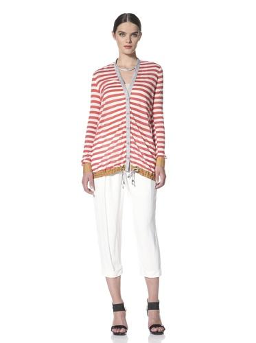Yigal Azrouel Women's Striped Cardigan (Mars/Optic)