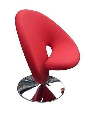 International Design USA Ziggy Wool Swivel Leisure Chair, Red
