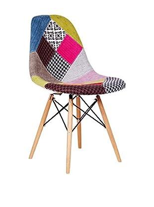 Lo+deModa Set Silla 2 Uds. Wooden Patchwork Multicolor