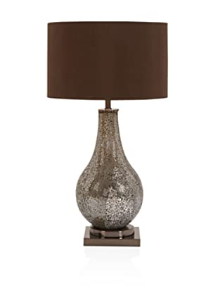 UMA Metal Mosaic Table Lamp, Silver/Brown